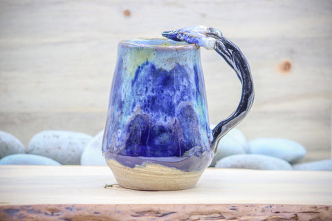 Midnight Waves (Unearthed) Paint Brush Mug Tea Cup - Ceramic Pottery - Glazed Stoneware