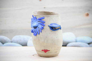 """BeBe...Lipstick Lady"" Flower Vase Planter Face Pot - Ceramic Pottery - Glazed Stoneware"
