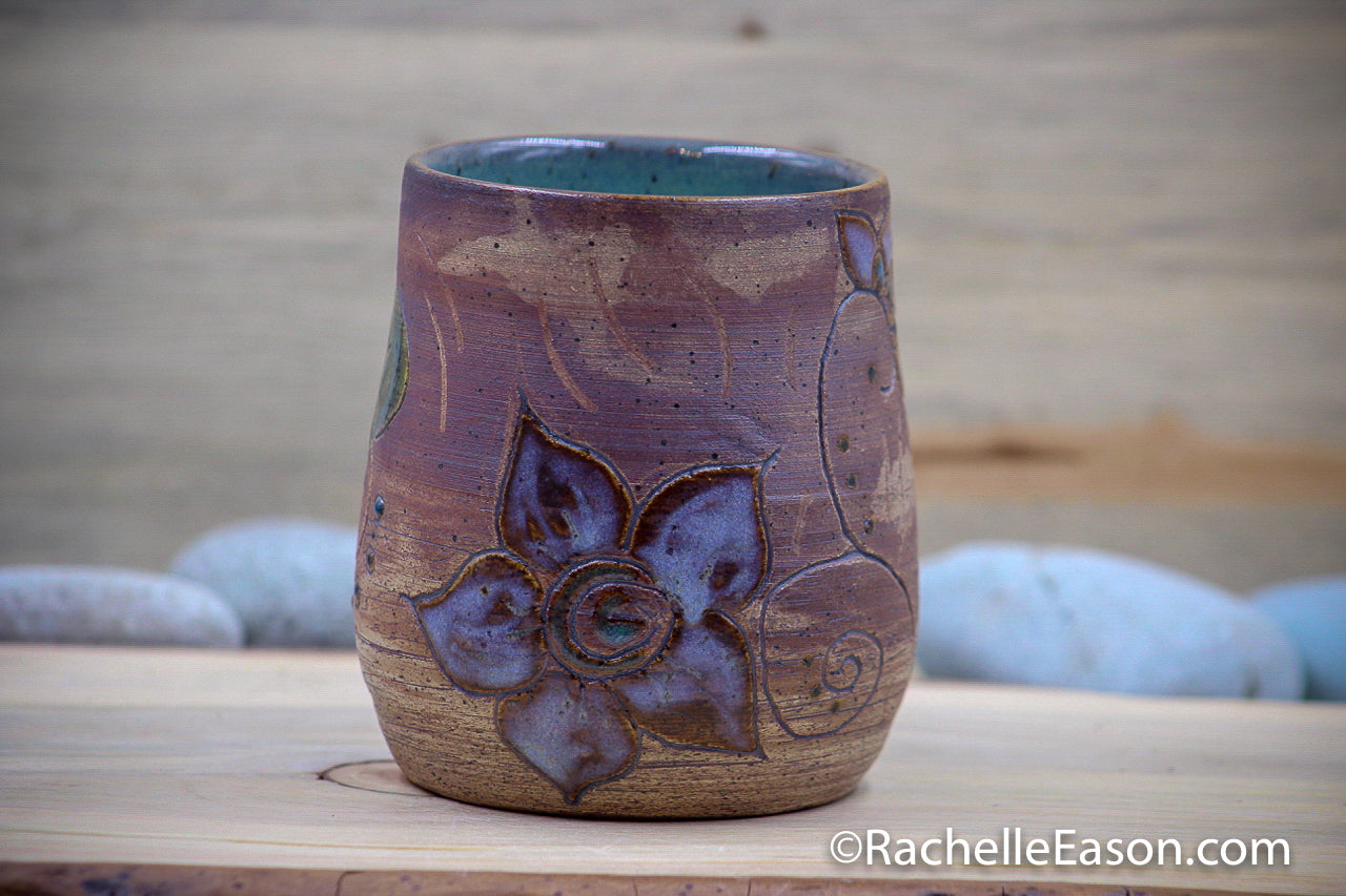Blooming - Carved Stoneware 17 oz Cylinder Vase Pen Cup - Ceramic Pottery - Glazed Stoneware