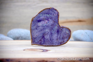 Morning Glory Leaf in Purples - Tile - Coaster - Ceramic Pottery - Stoneware