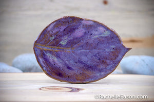 Hydrangea Leaf in Purples - Tile - Coaster - Ceramic Pottery - Stoneware