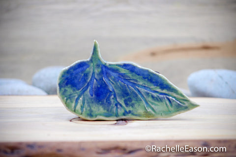 Begonia Leaf ~ Angel Wing in Blue-Greens - Tile - Ceramic Pottery - Stoneware