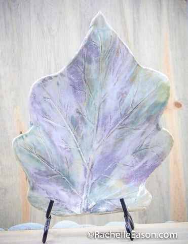 Eggplant Leaf Sculpture - Ceramic Pottery - Glazed Porcelain