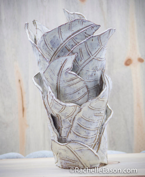 """Dance of the Coffee Leaf"" Sculpture Earthen White - Ceramic Pottery Vase - Glazed Stoneware"