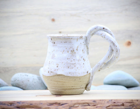 Sea Salt Mug Tea Cup - Twist Handle - Ceramic Pottery - Glazed Stoneware