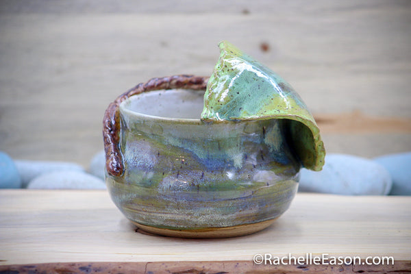 Begonia Leaf ~ Coastal Turquoise ~ Prayer or Blessing Bowl - Ceramic Pottery - Glazed Stoneware