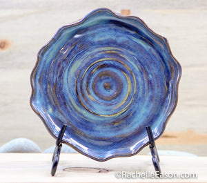 Coastal Denim (Deep Earth Clay) Plate - Ceramic Pottery - Glazed Stoneware