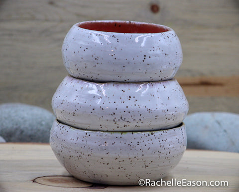 Wonky Stacked Ceramic Pottery Bowl Tower - Set of 3 Bowls - Glazed Stoneware