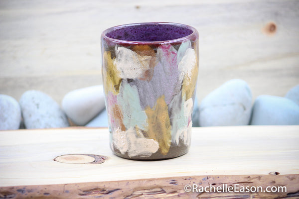 "Prototype - 14 oz ""Natural Abstract on Dark"" Tumbler Cup Mug Planter - Ceramic Pottery - Glazed Stoneware"