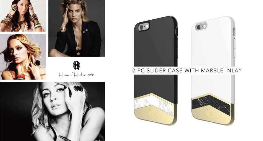Person - House of Harlow - 2-PC SLIDER CASE WITH MARBLE INLAY for iPhone SE 第2世代/8/7