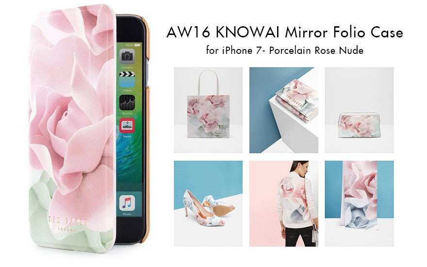 Cell Phone - Ted Baker - KNOWAI Mirror Folio Case for iPhone SE 第2世代/8/7 - Porcelain Rose