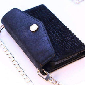 CROSSBODY WALLET CASE & BLACK METALLIC & TEXTURED SUEDE - caseplay