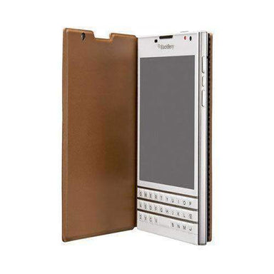BlackBerry - BlackBerry Passport 純正 Leather Flip Case Tan - caseplay