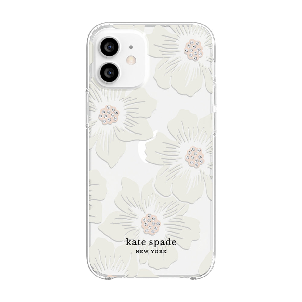 kate spade new york - Protective Hardshell Case for iPhone 12 mini - Hollyhock Floral Clear/Cream with Stones