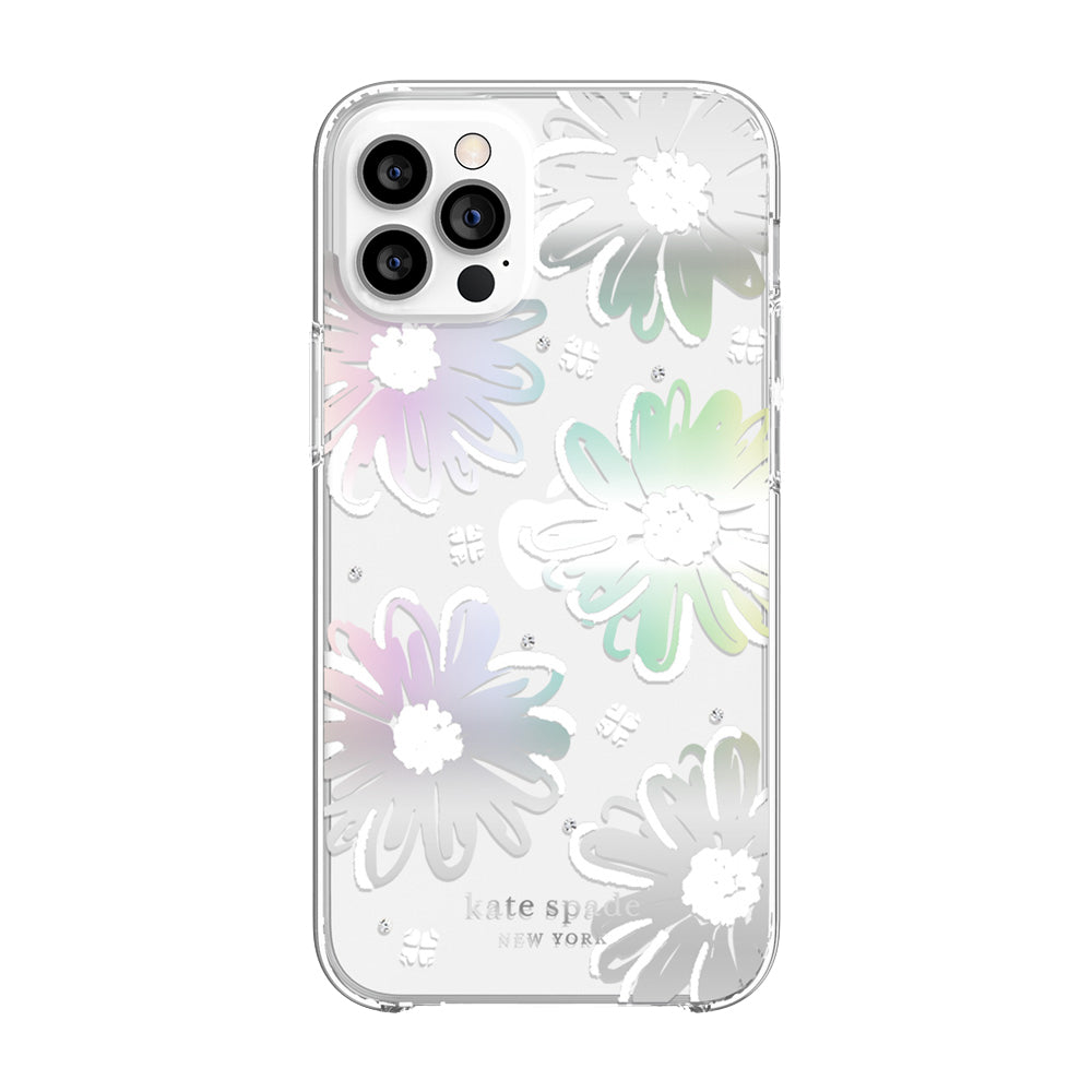 kate spade new york - Protective Hardshell Case for  iPhone 12/12 Pro - Daisy Iridescent Foil/White/Clear/Gems