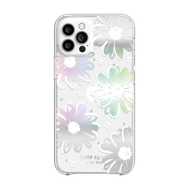 kate spade new york - Protective Hardshell Case for  iPhone 12 Pro Max - Daisy Iridescent Foil/White/Clear/Gems