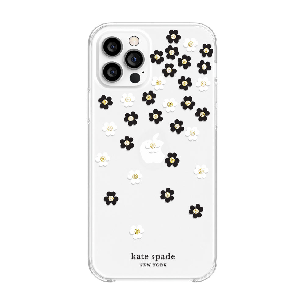 kate spade new york - Protective Hardshell Case for  iPhone 12/12 Pro - Scattered Flowers Black/White/Gold Gems/Clear/White Bumper