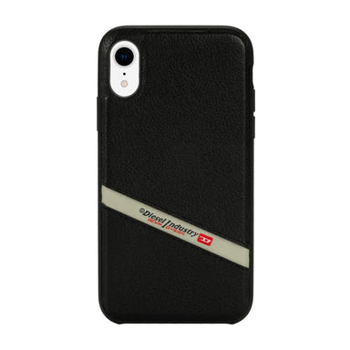 DIESEL - Leather Co-Mold Case Black Leather Diagonal Logo for iPhone XR / ケース - FOX STORE