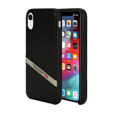 DIESEL - Leather Co-Mold Case Black Leather Diagonal Logo for iPhone XR