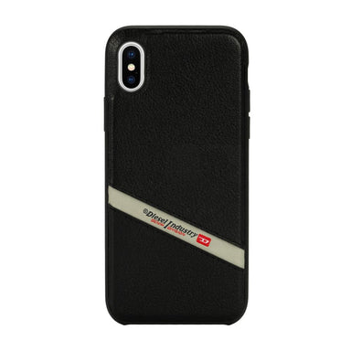 DIESEL - Leather Co-Mold Case Black Leather Diagonal Logo for iPhone XS Max / ケース - FOX STORE