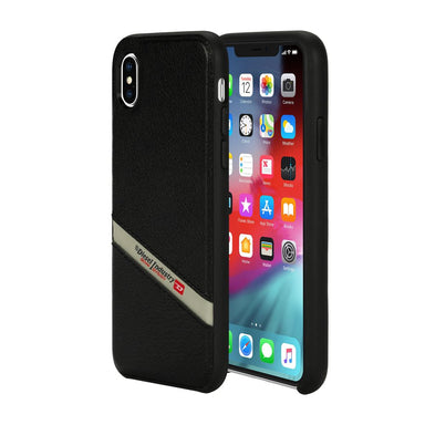 DIESEL - Leather Co-Mold Case Black Leather Diagonal Logo for iPhone XS Max