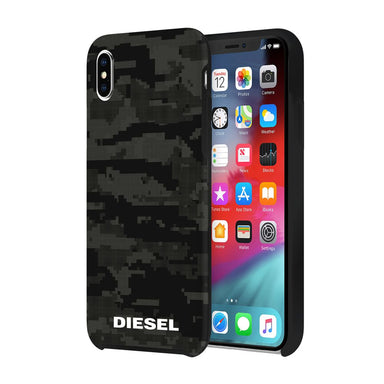DIESEL - Printed Co-Mold Soft Touch Pixelated Case Camo Black for iPhone XS Max