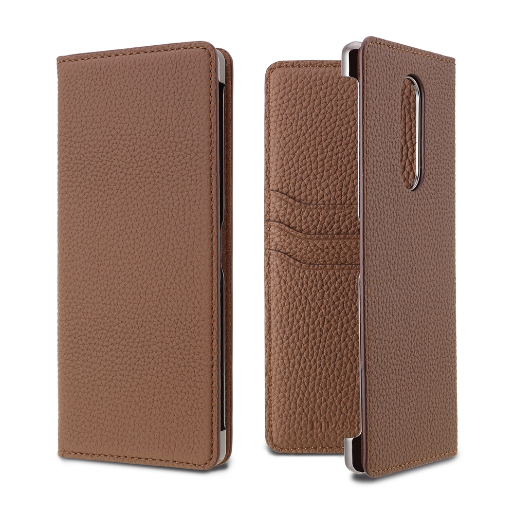 LORNA PASSONI - German Shrunken Calf Folio Case for Xperia 1 / ケース - FOX STORE