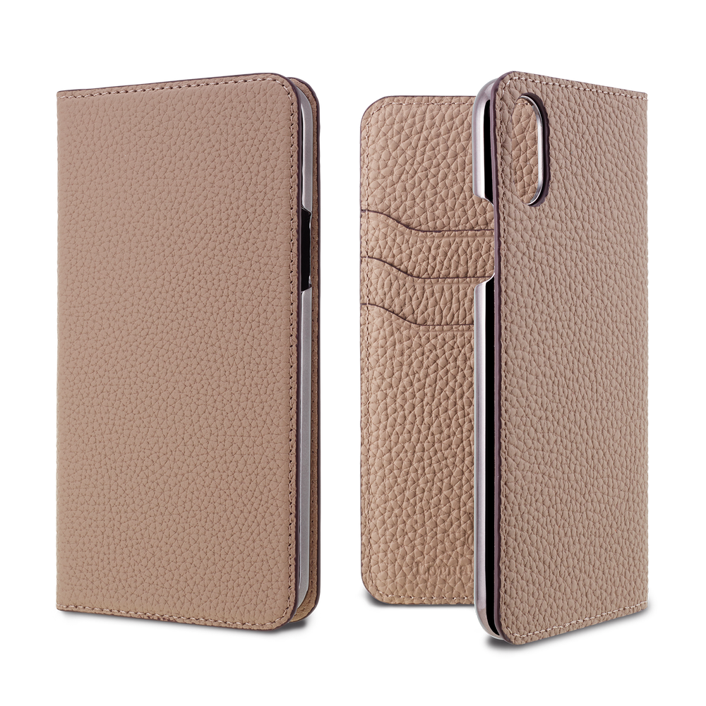 LORNA PASSONI - German Shrunken Calf Folio Case for iPhone X/XS