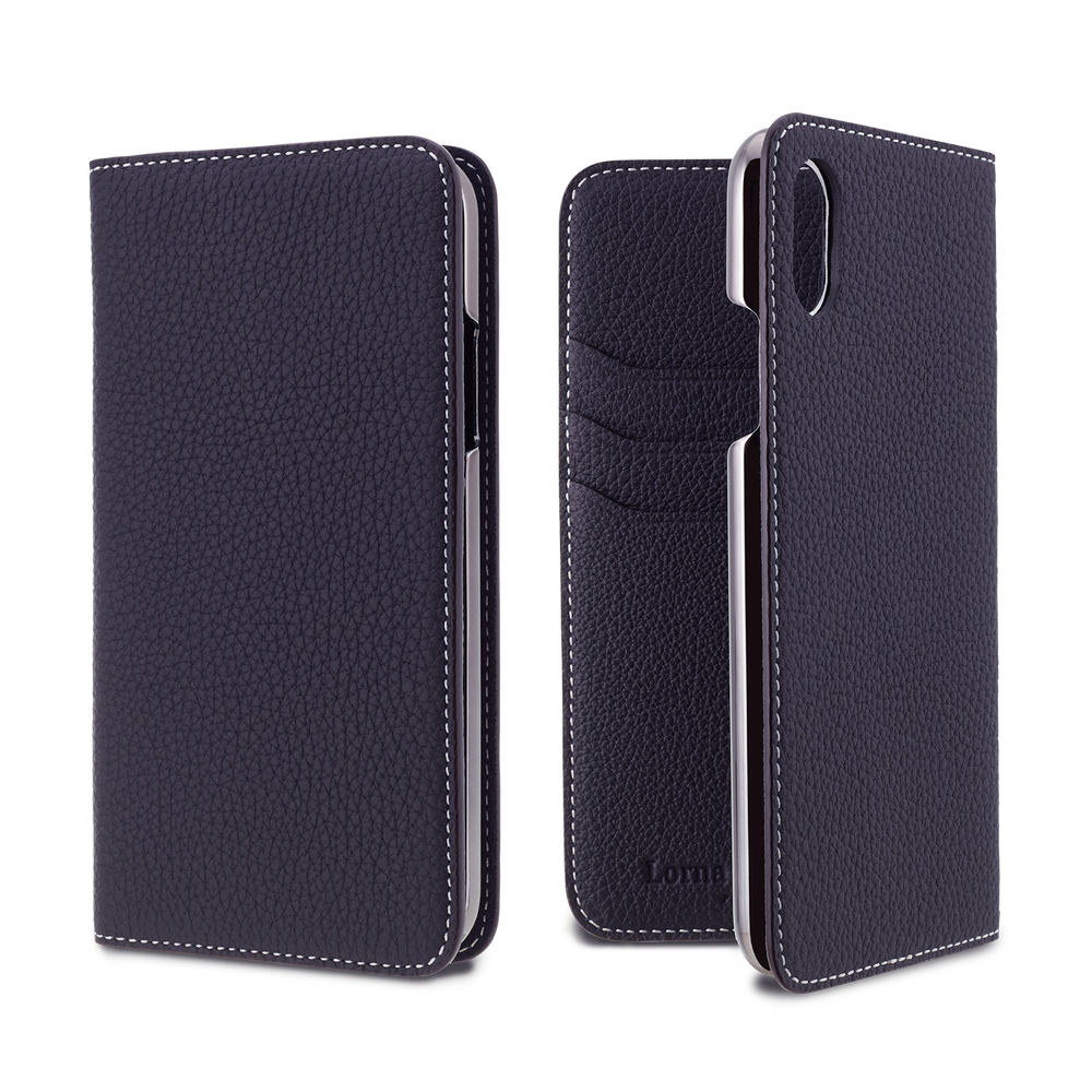 LORNA PASSONI - German Shrunken Calf Folio Case for iPhone XS/X / ケース - FOX STORE