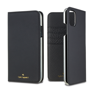 LORNA PASSONI - German Shrunken Calf Folio Case for iPhone 11/11 Pro/11 Pro Max <1piu1uguale3>