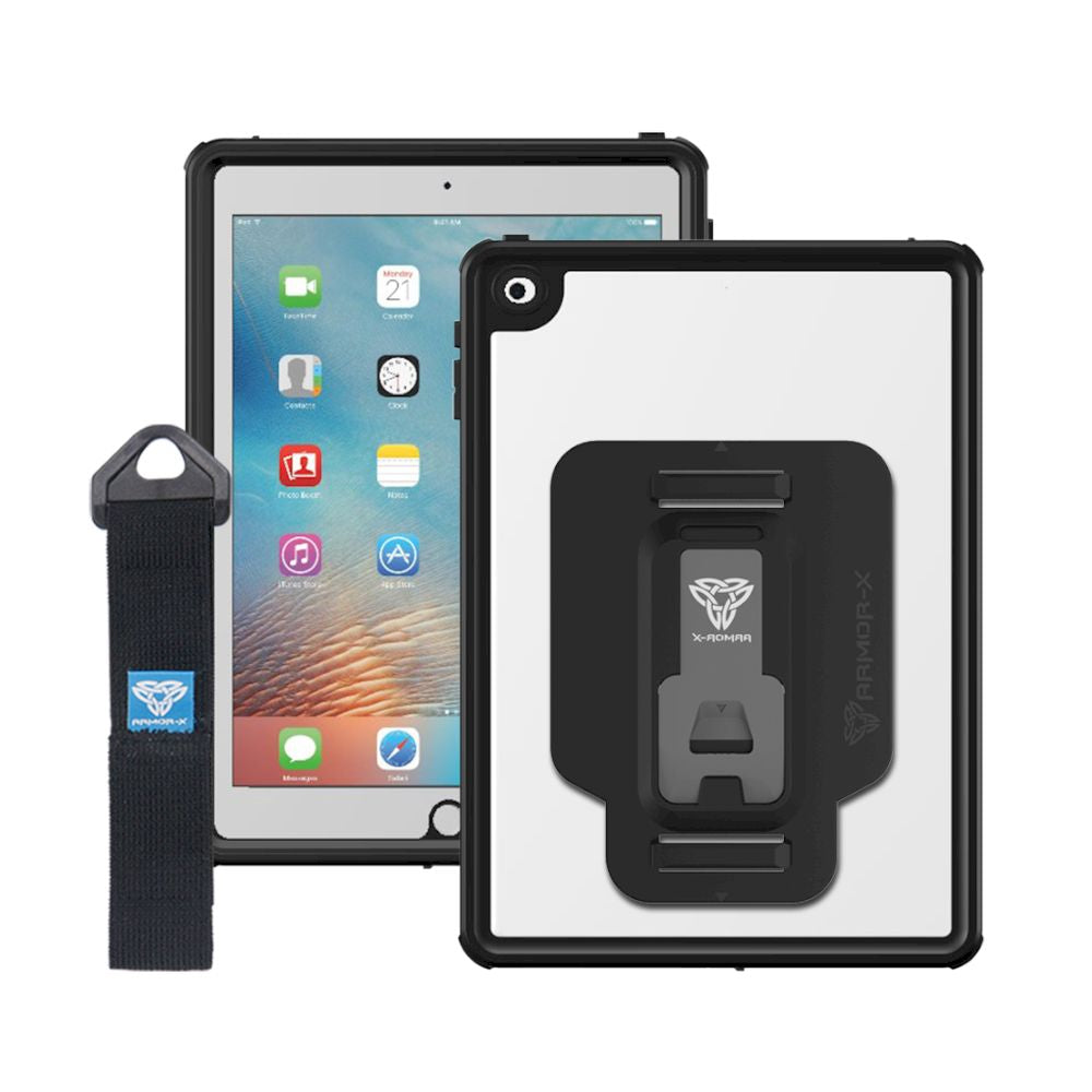 ARMOR-X - Waterproof Protective Case With New Adaptor And Hand Strap for iPad 10.2 - Black