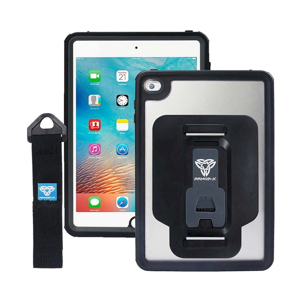 ARMOR-X - IP68 Waterproof Case With Hand Strap for iPad mini 4 - Black