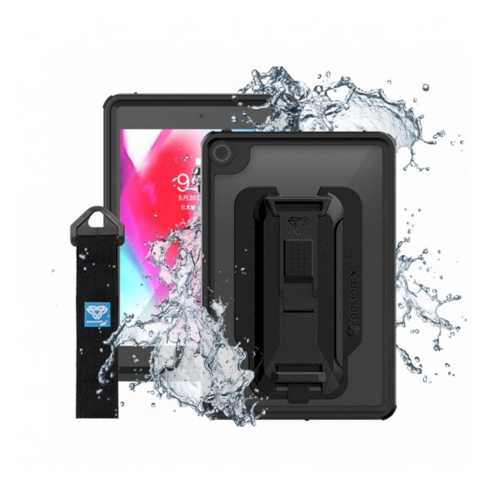 ARMOR-X - IP68 Waterproof Case With Hand Strap for iPad mini 5th - Black