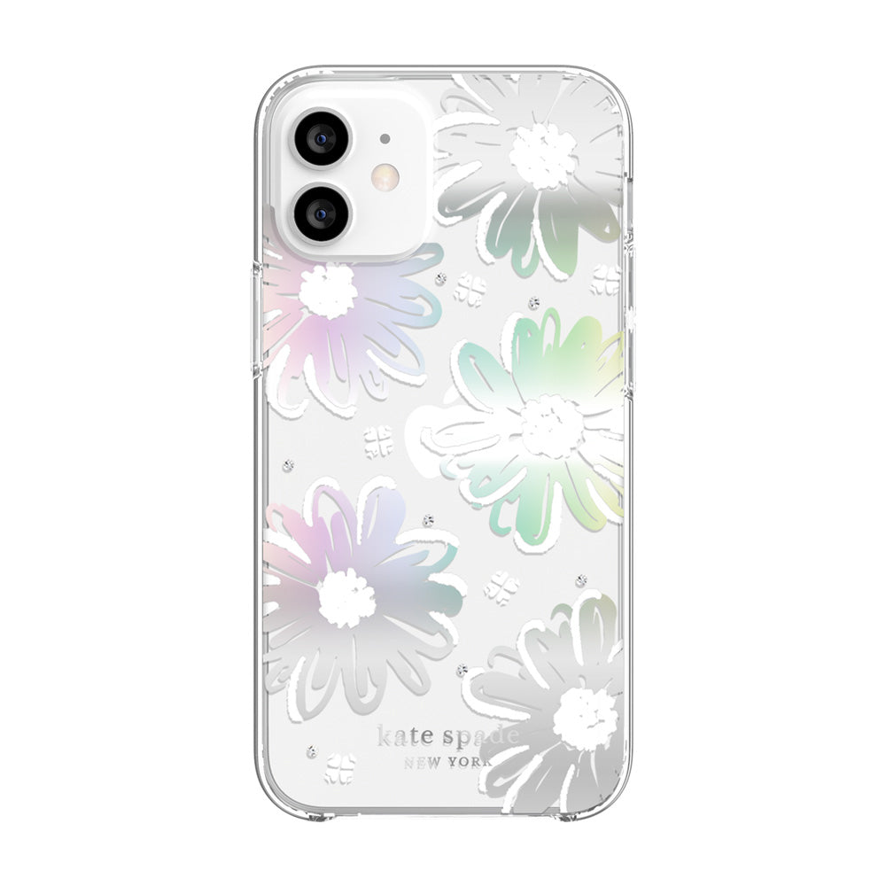 kate spade new york - Protective Hardshell Case for iPhone 12 mini - Daisy Iridescent Foil/White/Clear/Gems