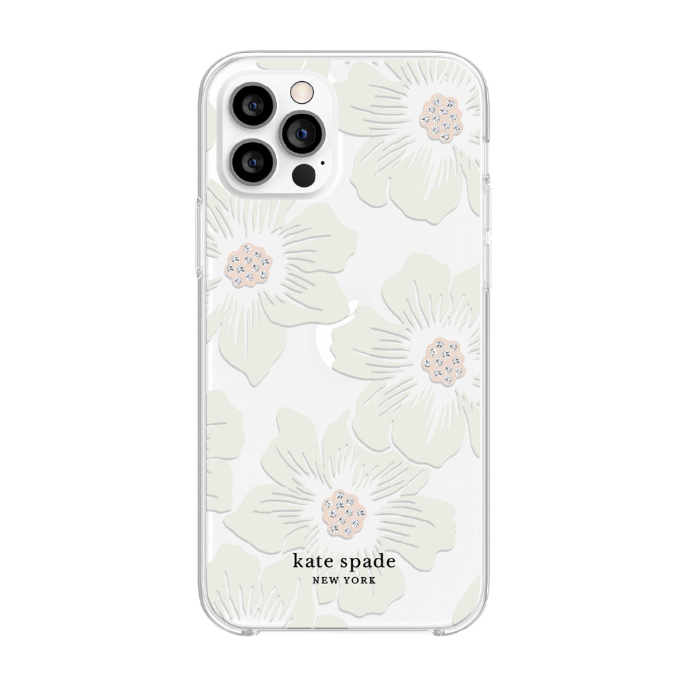 kate spade new york - Protective Hardshell Case for  iPhone 12/12 Pro - Hollyhock Floral Clear/Cream with Stones
