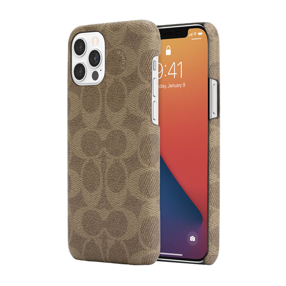 Coach - Slim Wrap Case for iPhone 12/12 Pro - Signature C Khaki