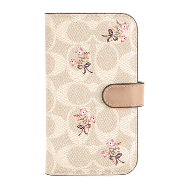 Coach - Folio Case for iPhone 12 / 12 Pro - Floral Bow Signature C Sand/Multi Printed/Glitter Accents