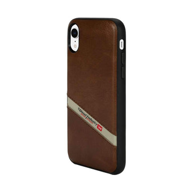 DIESEL - Leather Co-Mold Diagonal Logo Case for iPhone XR