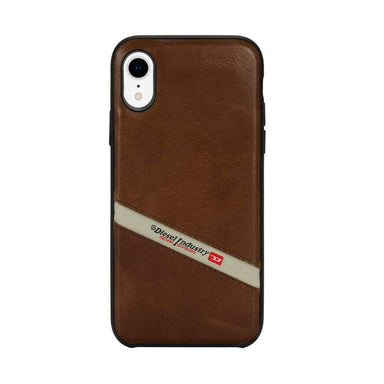 DIESEL - Leather Co-Mold Diagonal Logo Case for iPhone XR - caseplay