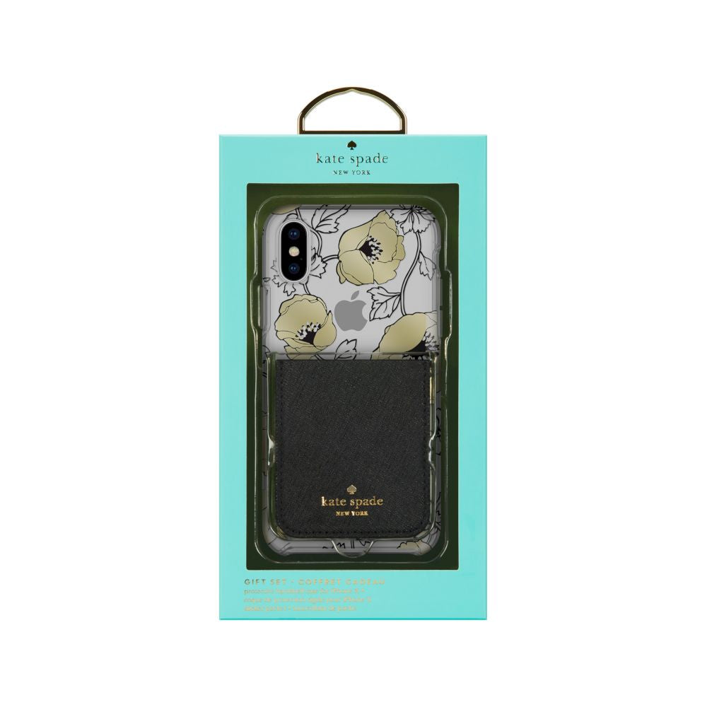 kate spade new york - Gift Set: Sticker Pocket (Black) & Protective Hardshell Case For iPhone XS/X (Dreamy Floral Black/Gold/Clear)