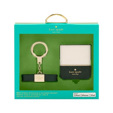 kate spade new york - Gift Set: Bow Cable Keychain with Lightning Connector [ Black ] & Sticker Pocket [ Color-Block Cement/Black/Gold Flange ]