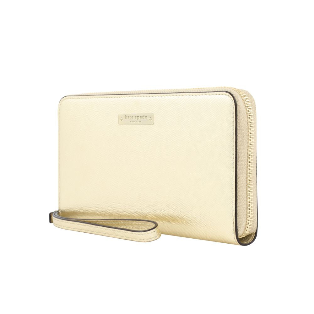 kate spade new york - Zip Wristlet (Fits Most Mobile Phones) - Saffiano Gold