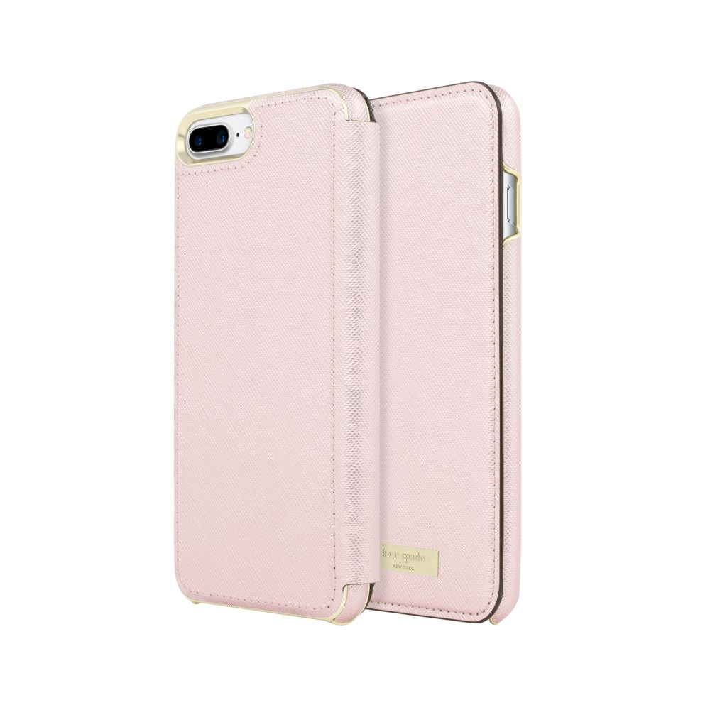 kate spade new york - Folio Case For iPhone 8/7 Plus - Saffiano Rose Quartz/Gold Logo Plate