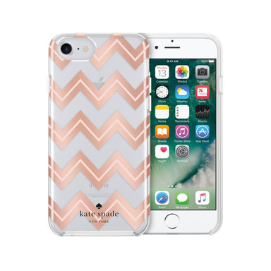 kate spade new york - Protective Hardshell Case (1-PC Comold) for iPhone SE 第2世代/8/7/6s/6 - Moroccan Chevron Clear/Blush/Rose Gold Foil