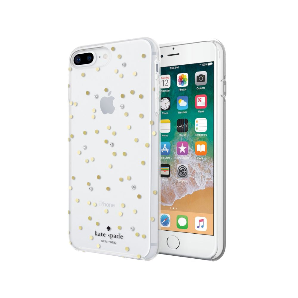 kate spade new york - Protective Hardshell Case (1-PC Co-Mold) for iPhone 8/7/6s/6 Plus - Scatter Dot Gold with Gems