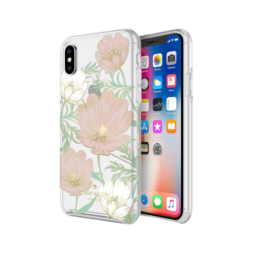 kate spade new york - Protective Hardshell Case (1-PC Co-Mold) for iPhone XS/X - Large Blossom Multi/Gold Foil with Gems