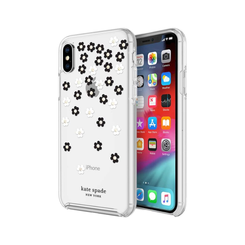 kate spade new york - Protective Hardshell Case (1-PC Co-Mold) for iPhone XS/X - Scattered Flowers Black/White/Gold Gems/Clear