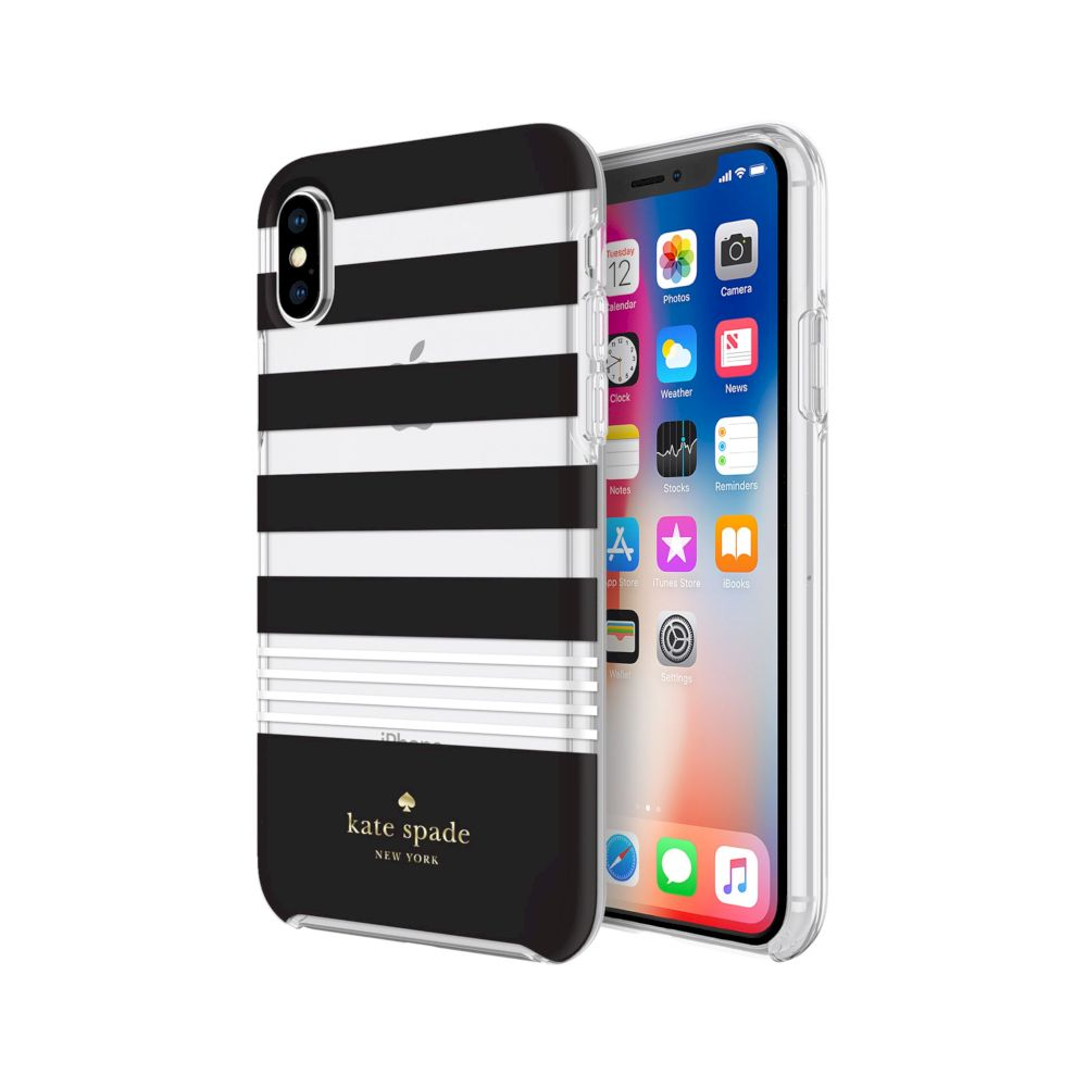 kate spade new york - Protective Hardshell Case (1-PC Co-Mold) for iPhone XS/X - Stripe 2 Black/White