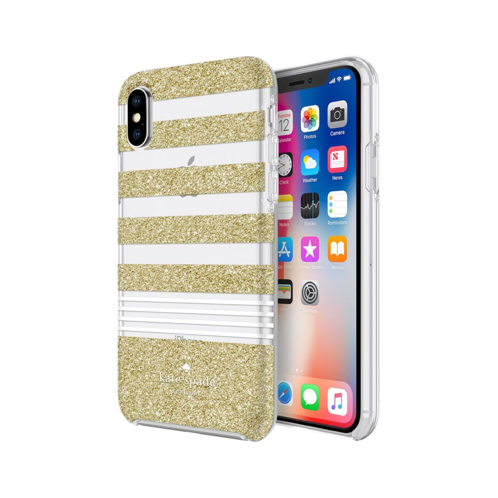 kate spade new york - Protective Hardshell Case (1-PC Co-Mold) for iPhone XS/X - Stripe 2 Gold Glitter/White