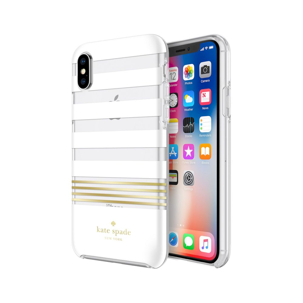 kate spade new york - Protective Hardshell Case (1-PC Co-Mold) for iPhone XS/X - Stripe 2 White/Gold